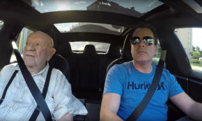 Zev Gitalis takes his 97-year-old grandfather for a ride in his Tesla Model S electric car [YouTube]